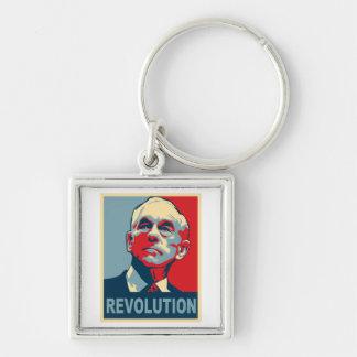 Revolución de Ron Paul Llavero Cuadrado Plateado