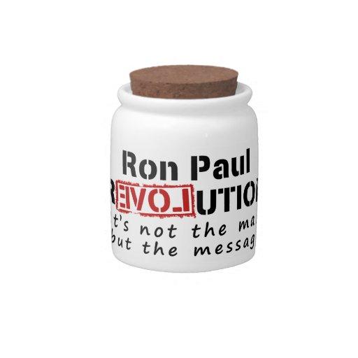 Revolución de Ron Paul no el hombre sino el mensaj Jarra Para Caramelo