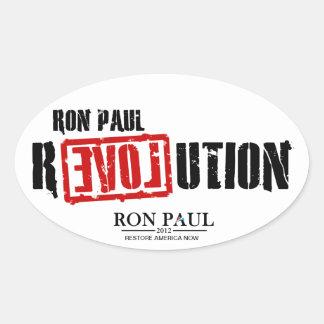Revolución de Ron Paul - restablecimiento América Pegatina Ovalada