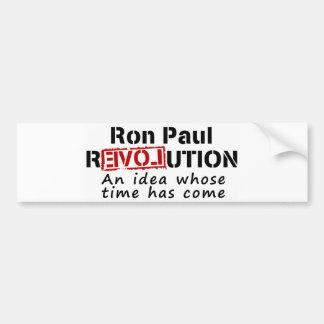 Revolución de Ron Paul una idea cuya ha venido hor Etiqueta De Parachoque