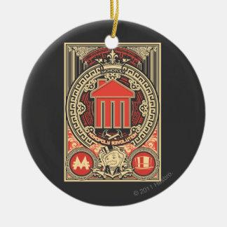 Revolución del monopolio adorno navideño redondo de cerámica