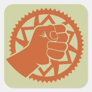 Revolución del poder de Chainring Calcomania Cuadradas Personalizadas