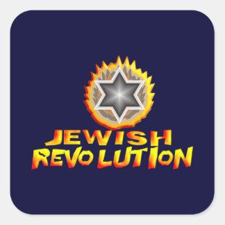Revolución judía pegatina cuadrada