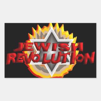 Revolución judía pegatina rectangular