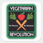 Revolución vegetariana calcomania cuadradas