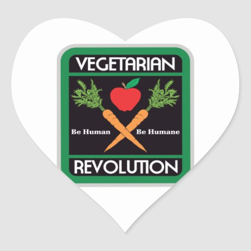 Revolución vegetariana pegatina en forma de corazón