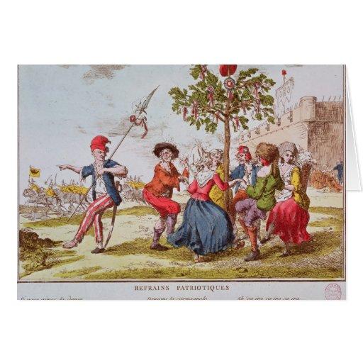 Revolucionarios franceses que bailan el carmagnole tarjetas