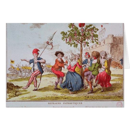 Revolucionarios franceses que bailan el carmagnole tarjeta de felicitación