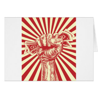 Revolution fist holding money concept greeting card