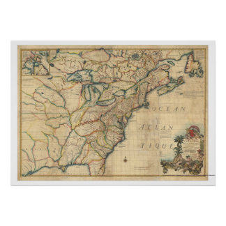 Revolutionary America Map - 1777 Poster