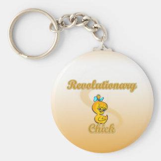 Revolutionary Chick Basic Round Button Keychain