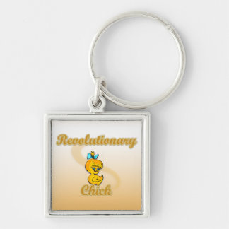 Revolutionary Chick Silver-Colored Square Keychain