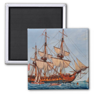 Revolutionary Painting of the Frigate Confederacy 2 Inch Square Magnet