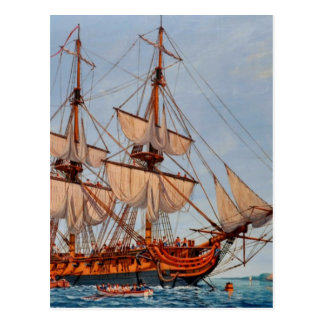 Revolutionary Painting of the Frigate Confederacy Postcard