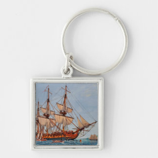 Revolutionary Painting of the Frigate Confederacy Silver-Colored Square Keychain