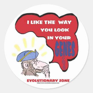 Revolutionary thinking monkey round stickers
