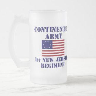 Revolutionary War 1st New Jersey Regiment Glass 16 Oz Frosted Glass Beer Mug