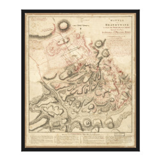 Revolutionary War Battle of Brandywine Map (1777) Canvas Print