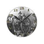Revolutionary War Cannon - Molly Pitcher Round Wall Clocks