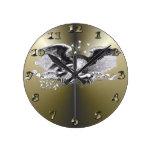 Revolutionary War Eagle Round Wall Clocks