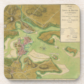 Revolutionary War Map of Boston Harbor 1776 Coaster