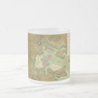 Revolutionary War Map of Boston Harbor 1776 Frosted Glass Coffee Mug