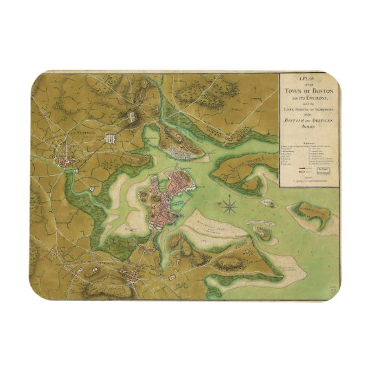 Revolutionary War Map of Boston Harbor 1776 Magnet