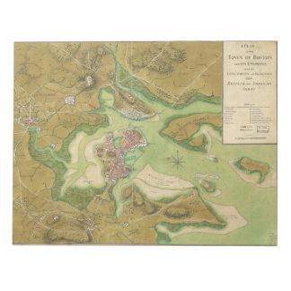 Revolutionary War Map of Boston Harbor 1776 Notepad