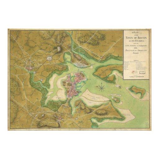 Revolutionary War Map of Boston Harbor 1776 Photo Print