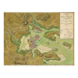 Revolutionary War Map of Boston Harbor 1776 Postcard