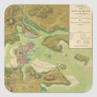 Revolutionary War Map of Boston Harbor 1776 Square Stickers
