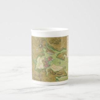Revolutionary War Map of Boston Harbor 1776 Tea Cup