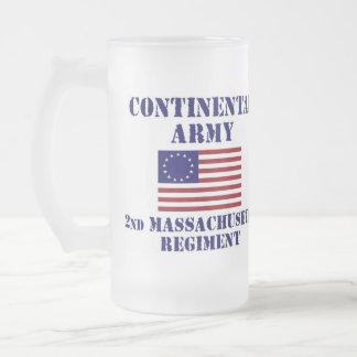 Revolutionary War Massachusetts Regiment Glass Frosted Glass Beer Mug