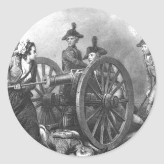 Revolutionary War Molly Pitcher Cannon Classic Round Sticker