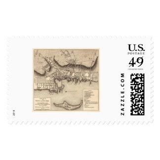 Revolutionary War Newport Map - 1777 Stamp
