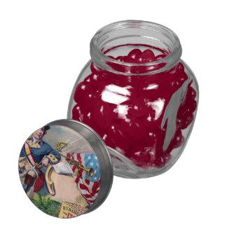 Revolutionary War patriotic boy flag vintage art Glass Jar