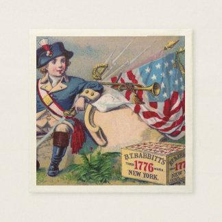 Revolutionary War patriotic boy flag vintage art Paper Napkin