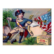 Revolutionary War patriotic boy flag vintage art Postcard