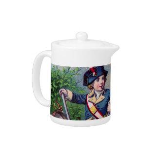 Revolutionary War patriotic boy flag vintage art Teapot