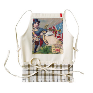 Revolutionary War patriotic boy flag vintage art Zazzle HEART Apron