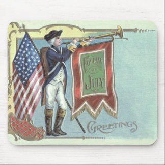 Revolutionary War Soldier American Flag Horn Mouse Pad