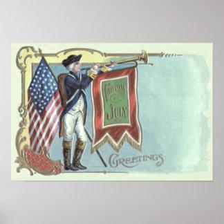 Revolutionary War Soldier American Flag Horn Poster