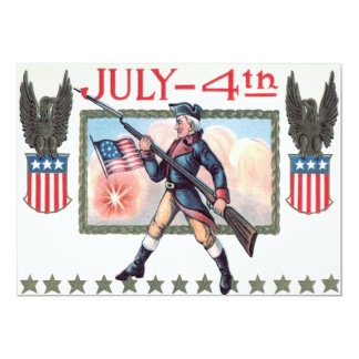 Revolutionary War Soldier American Flag Shield Card