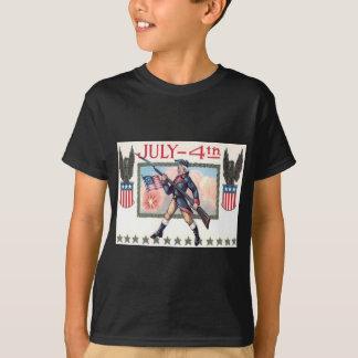 Revolutionary War Soldier American Flag Shield T-Shirt