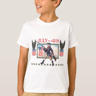 Revolutionary War Soldier American Flag Shield T-Shirt