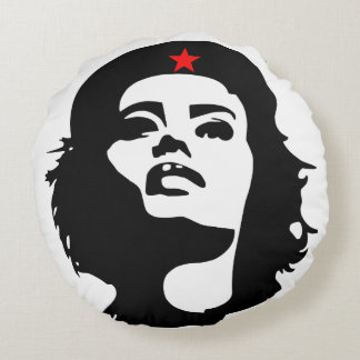 REVOLUTIONARY WOMAN WITH RED STAR Round Pillow