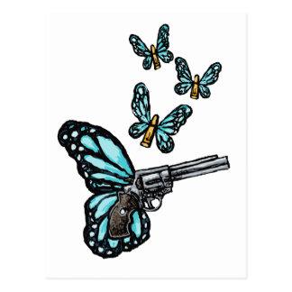 Revólver, balas y productos de las mariposas postal