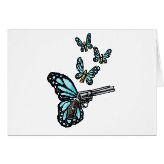 Revólver, balas y productos de las mariposas tarjeta de felicitación