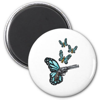 Revolver, Bullets and Butterflies Products 2 Inch Round Magnet