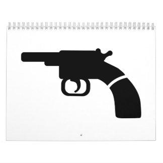 Revólver del arma calendarios de pared